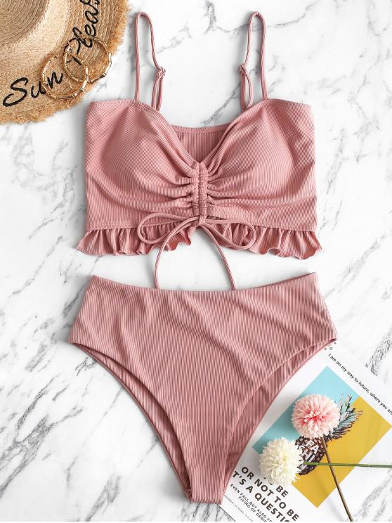ZAFUL costine Cinched increspature Tankini Swimsuit - Rosa 2XL
