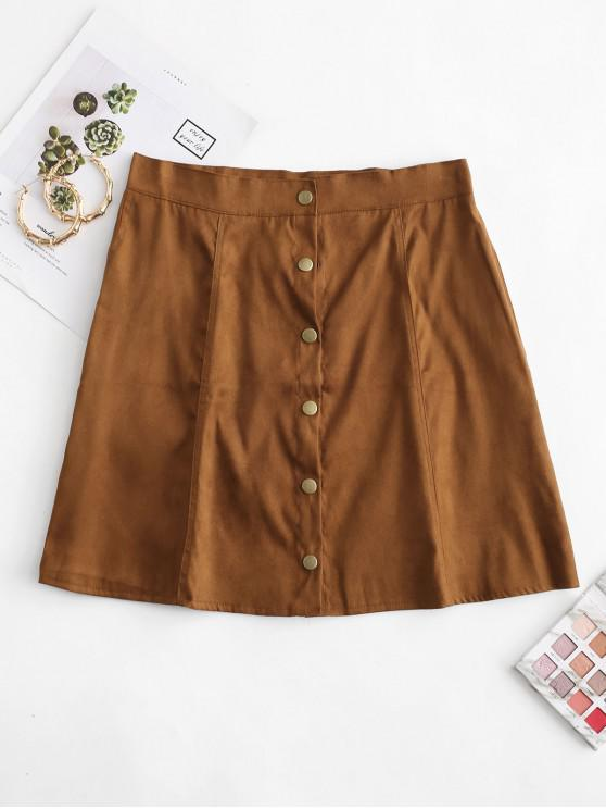 outfits Snap Button Solid A Line Skirt - BROWN L