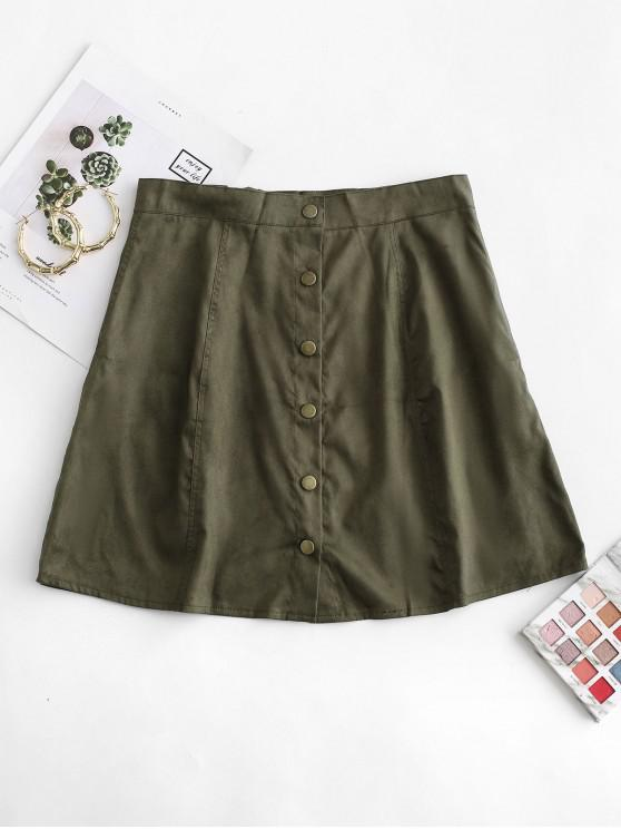 trendy Snap Button Solid A Line Skirt - ARMY GREEN L