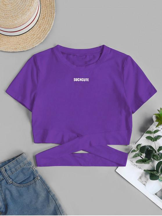 outfit Cut Out SUCH CUTE Graphic Cropped Tee - DARK ORCHID S
