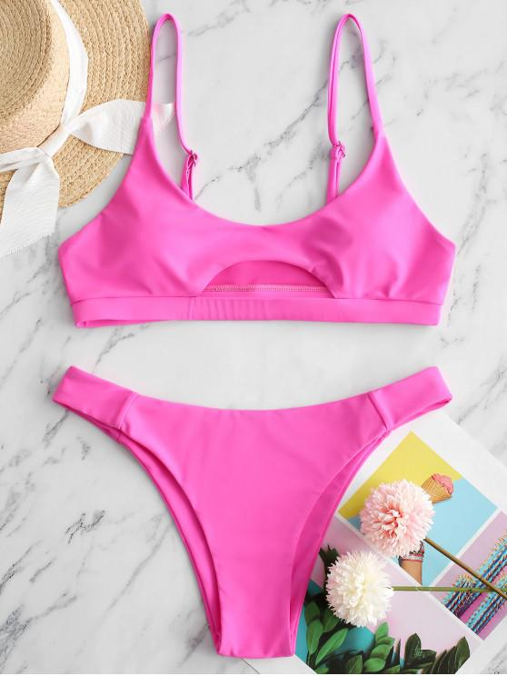 shop ZAFUL Front Cutout Bikini Swimsuit - HOT PINK S