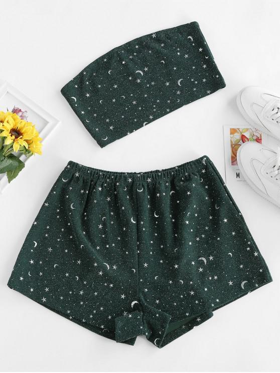 Top a Fascia e Pantaloni con Motivo di Stelle e Luna di ZAFUL - Verde Mare Medio  M