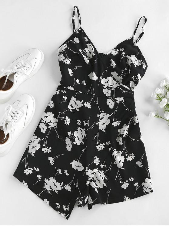 shop ZAFUL Floral Print Asymmetric Cami Romper - BLACK M
