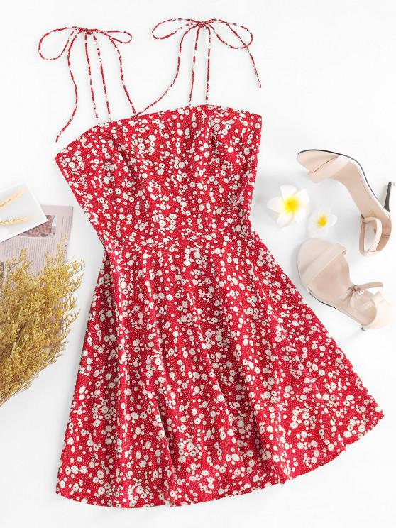 outfits ZAFUL Ditsy Print Tie Shoulder Sleeveless Dress - RED S