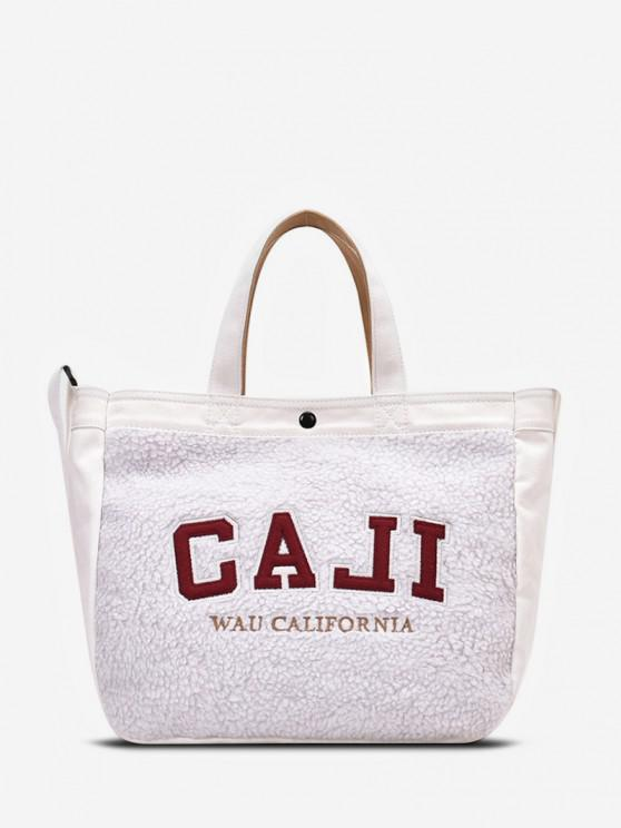 chic Graphic Pattern Suede Tote Bag - WHITE