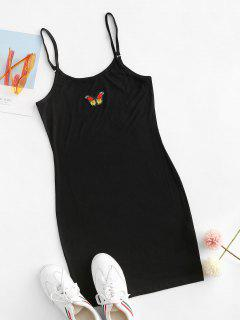 Butterfly Patched Y2K Bodycon Cami Dress - Black S