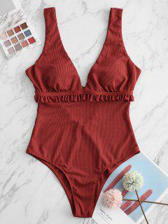 ZAFUL Plunge Ribbed Frilled One-piece Swimsuit - Cherry Red M
