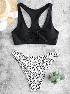 ZAFUL Verknoteter Bikini Bademode Racerback Mit Dalmatinischem Muster - Schwarz S