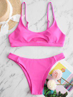 ZAFUL Front Cutout Bikini Swimsuit - Hot Pink M