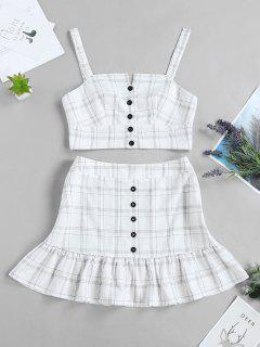 ZAFUL Checked Buttoned Top And Ruffles Skirt Set - White L
