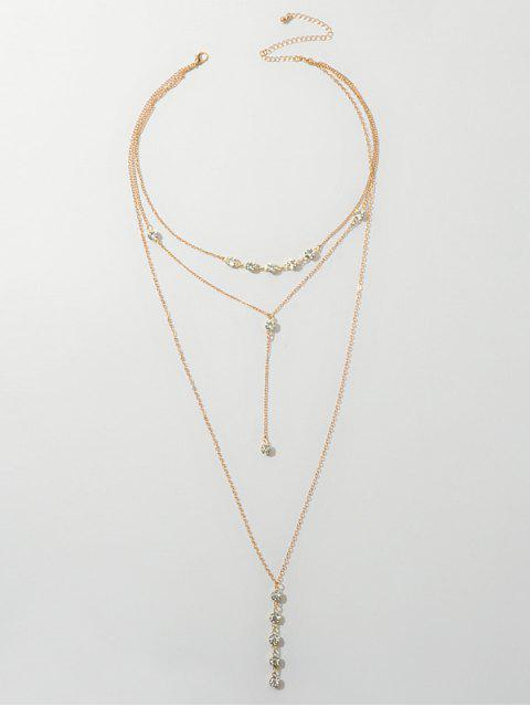 Collier Chaîne Multi-Couches en Strass - Or  Mobile