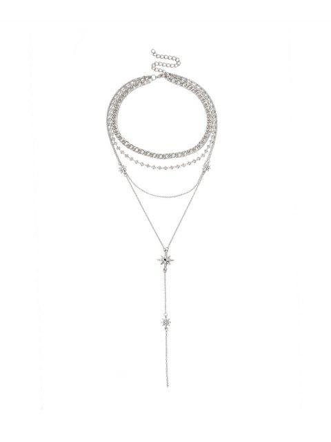 Многослойное Ожерелье Горный хрусталь Звезда - Серебристый  Mobile