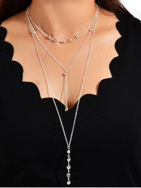 Многослойное Цепное Ожерелье Горный хрусталь - Серебристый  Mobile