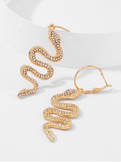 Горный хрусталь Змея Серьги - Золотой  Mobile