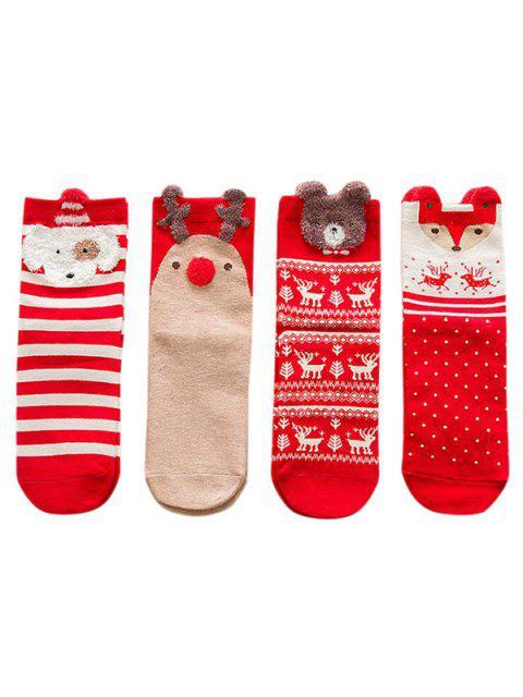 Ensemble de Chaussettes de Noël Animal en Dessin Animé Imprimé 4 Pièces - Rouge  Mobile