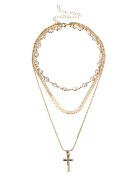 Многослойное Ожерелье Искусственный жемчуг Крест - Золотой  Mobile