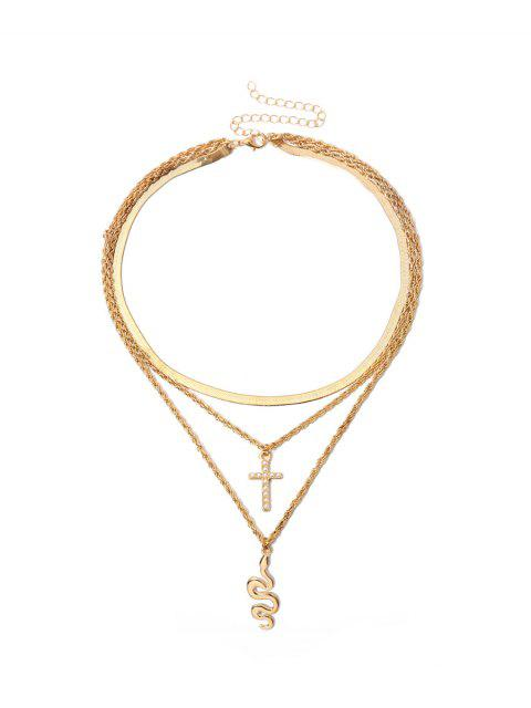 Многослойное Ожерелье Подвеска креста и змеи - Золотой  Mobile