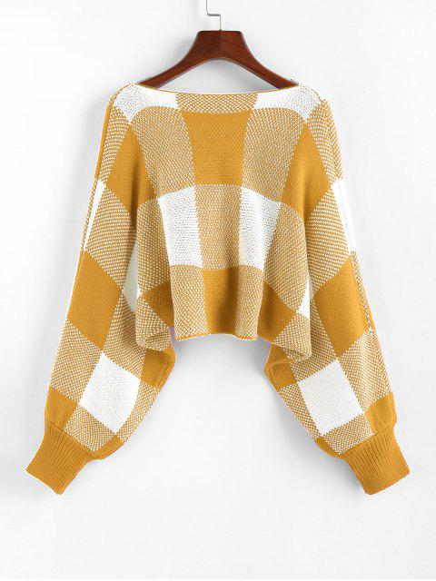 women ZAFUL Checkered Cowl Front Twisted Batwing Sleeve Sweater - GOLDEN BROWN L Mobile