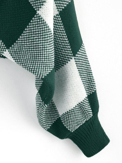 unique ZAFUL Checkered Cowl Front Twisted Batwing Sleeve Sweater - MEDIUM SEA GREEN S Mobile