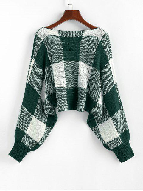 affordable ZAFUL Checkered Cowl Front Twisted Batwing Sleeve Sweater - MEDIUM SEA GREEN L Mobile