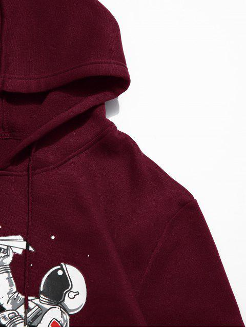 unique ZAFUL Astronaut Print Kangaroo Pocket Hoodie - RED WINE S Mobile