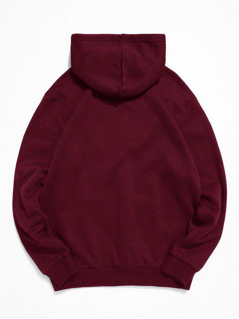 chic ZAFUL Astronaut Print Kangaroo Pocket Hoodie - RED WINE L Mobile