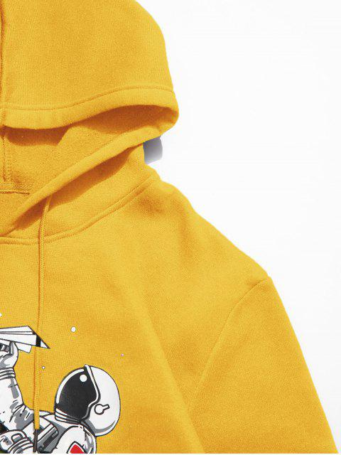 unique ZAFUL Astronaut Print Kangaroo Pocket Hoodie - GOLDEN BROWN S Mobile