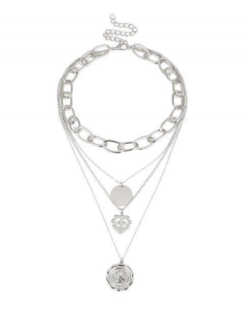 Ажурное сердце Крест Многослойное Ожерелье - Серебристый  Mobile