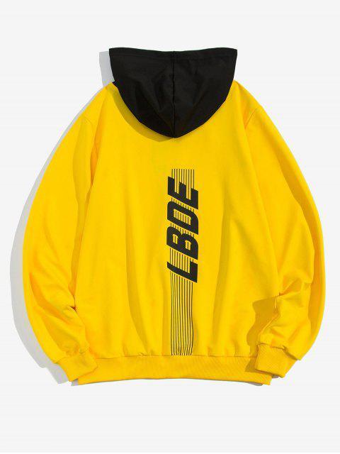 信條紋打印Colorblock拼接抽繩連帽外套 - 黃色 2XL Mobile