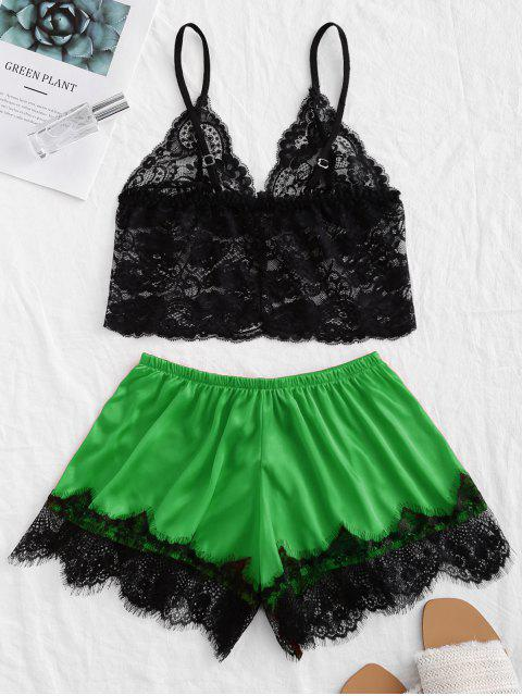 shop Bowknot Lace Panel Satin Pajama Set - GREEN S Mobile