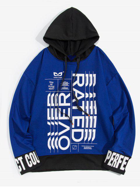 信圖形打印Colorblock拼接仿兩件套衫 - 海藍色 M Mobile