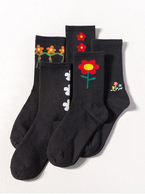 Ensemble de Chaussettes Fleur Imprimée Dessin Animé 5 Paires - Noir  Mobile