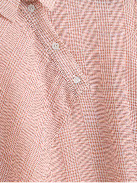 shop ZAFUL Overlap Half Buttoned Gingham Top - PINK M Mobile