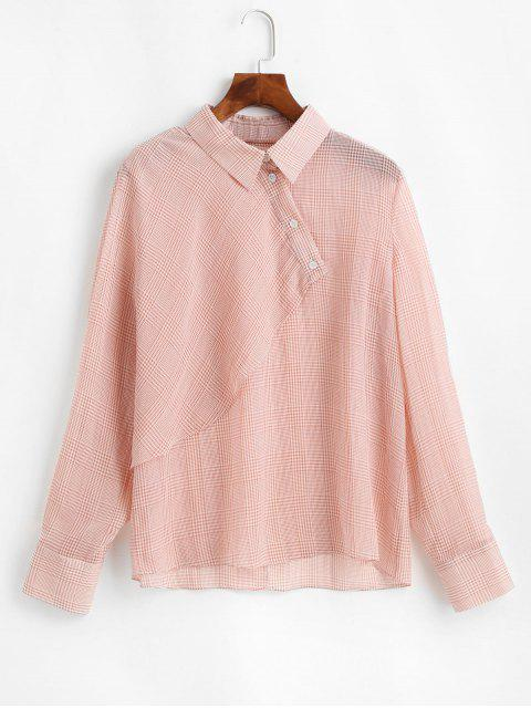 sale ZAFUL Overlap Half Buttoned Gingham Top - PINK L Mobile