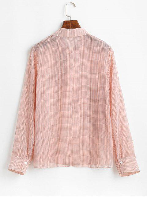 outfit ZAFUL Overlap Half Buttoned Gingham Top - PINK XL Mobile