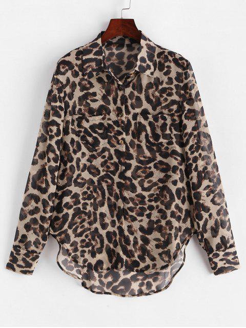 women Leopard Print Buttoned High Low Shirt - LEOPARD M Mobile