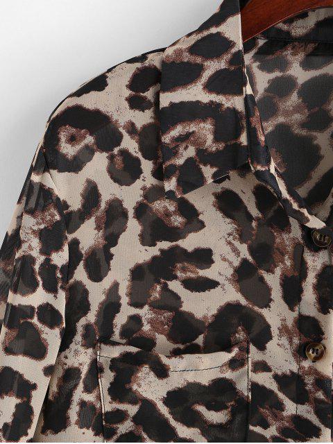 fashion Leopard Print Buttoned High Low Shirt - LEOPARD L Mobile