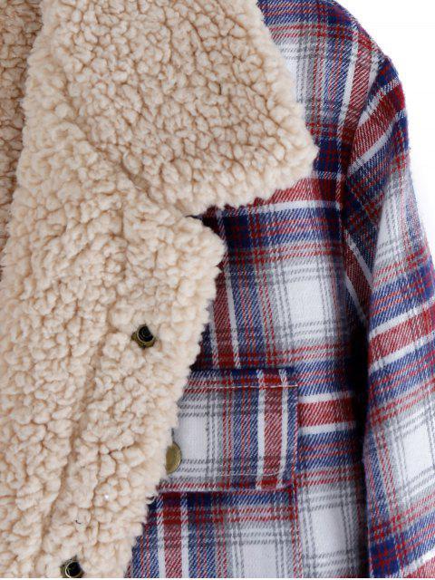 latest ZAFUL Plaid Pattern Casual Button Fluffy Jacket - FIREBRICK XL Mobile
