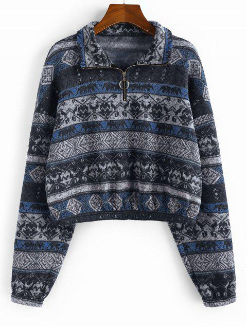outfits ZAFUL Ethnic Elephant Geo Print Drop Shoulder Quarter Zip Hoodie - MULTI-B M Mobile