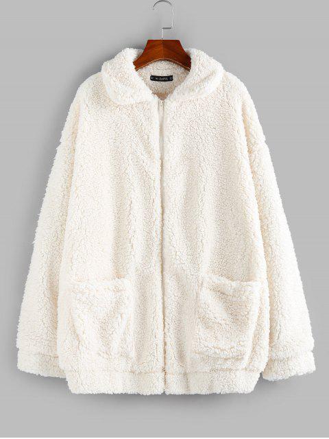 ZAFUL Manteau Fourré Zippé à Goutte Epaule avec Poche - Blanc Chaud M Mobile