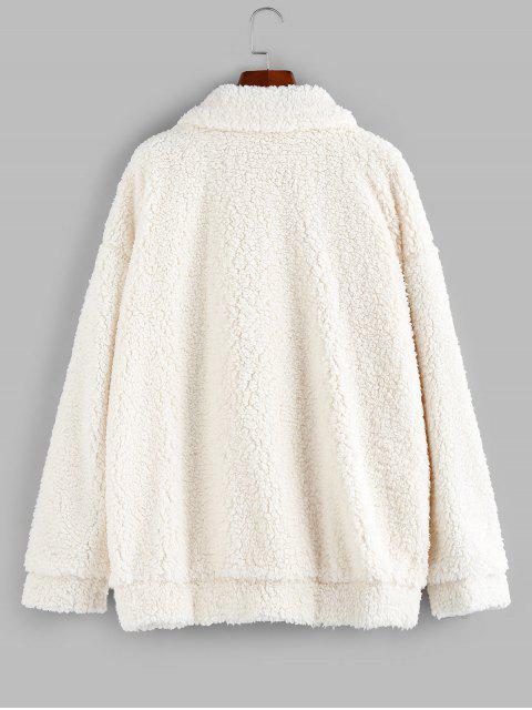 ZAFUL Manteau Fourré Zippé à Goutte Epaule avec Poche - Blanc Chaud XL Mobile