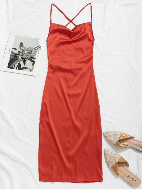 unique Backless Criss Cross Satin Sheath Dress - VALENTINE RED M Mobile