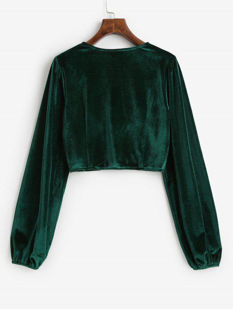 women's Velvet Loop Button Plunge Crop Top - DEEP GREEN L Mobile