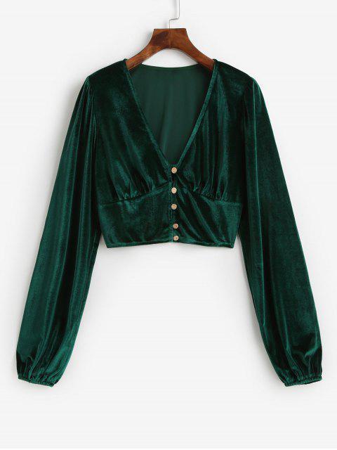 ladies Velvet Loop Button Plunge Crop Top - DEEP GREEN S Mobile