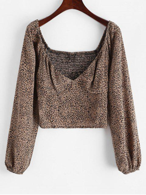 lady Leopard Smocked Bustier Top - LEOPARD L Mobile