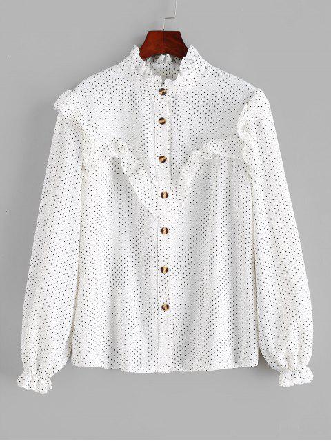 best Polka Dot Ruffles Buttoned Blouse - WHITE XL Mobile