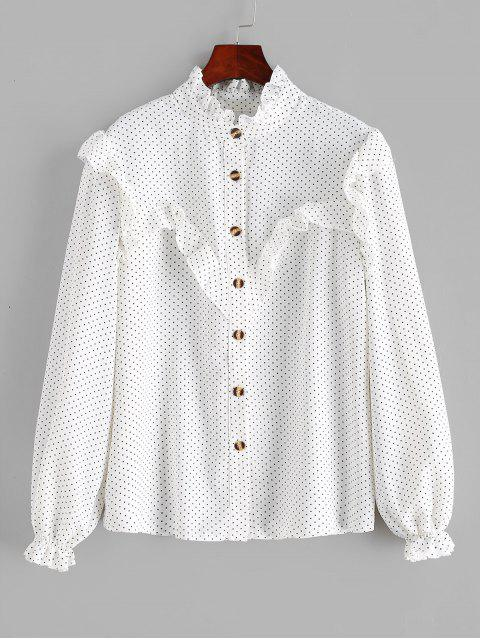 women's Polka Dot Ruffles Buttoned Blouse - WHITE L Mobile