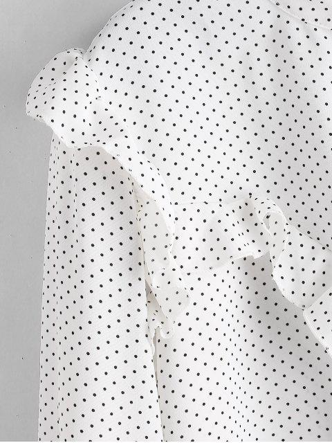 chic Polka Dot Ruffles Buttoned Blouse - WHITE M Mobile