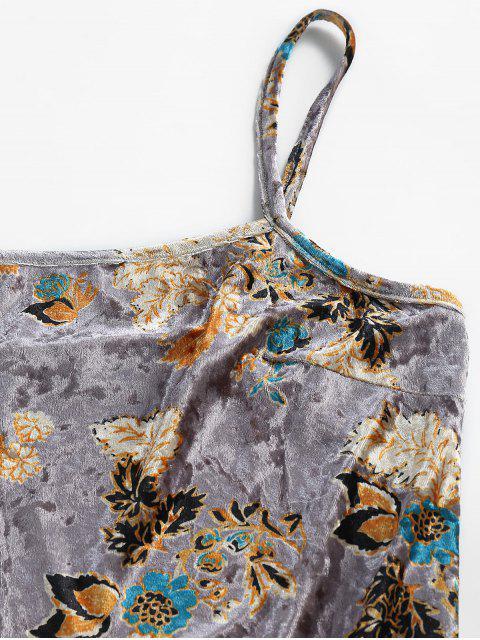 ZAFUL Vestido Mini de Tirante Fino de Terciopelo con Abertura de Flores - Gris Oscuro XL Mobile