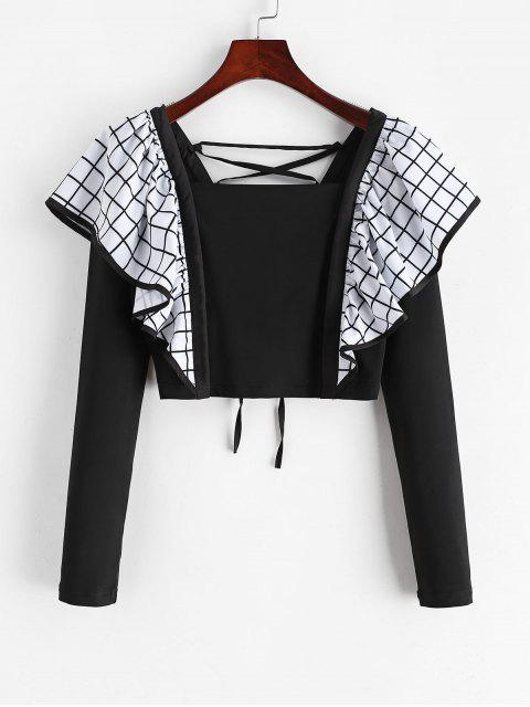 best Plaid Panel Ruffles Lace Up Top - BLACK S Mobile